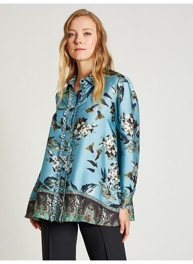 Vekem-Limited Edition Çiçek Desenli Fırfırlı Gömlek Mavi